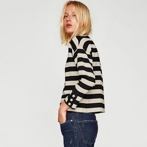 Zara striped Top with Pearl Sleeve-XS